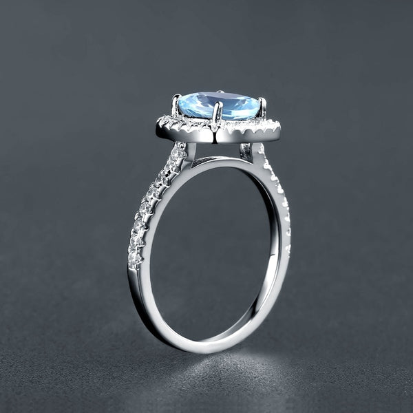 Sterling Silver 2.57 Ct Square Topaz Ring for Woman