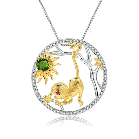 Sterling Silver Gold Plated Monkey Chrome Diopside Pendant for Women