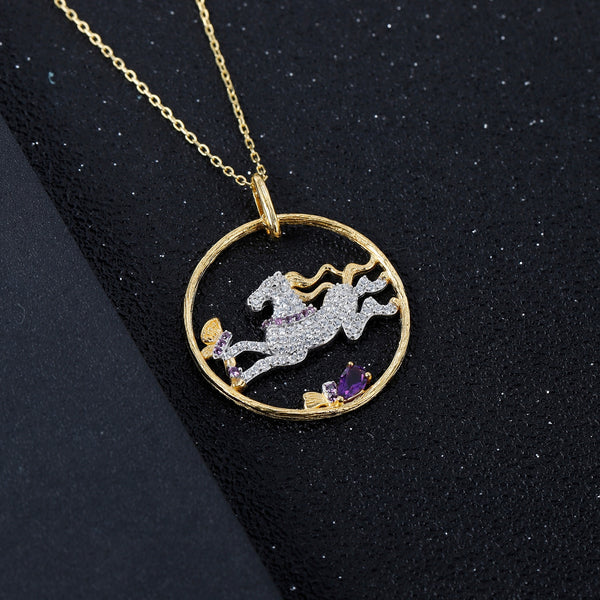 Sterling Silver Gold Plated Horse Amethyst Pendant for Women
