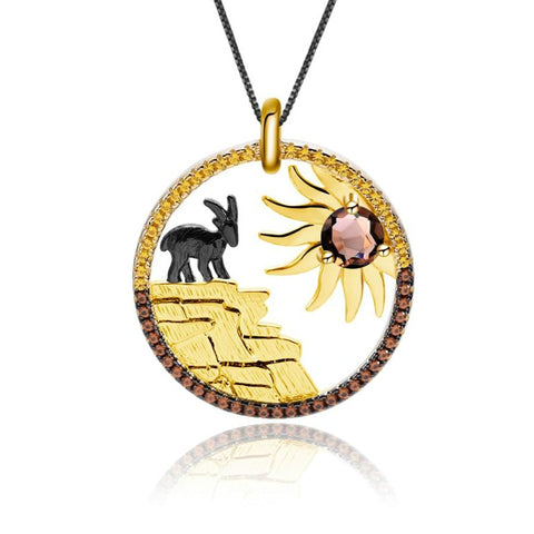 Sterling Silver Gold Plated Goat Quartz Pendant for Women