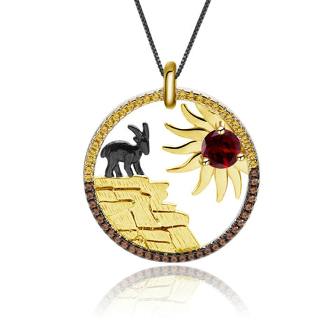 Sterling Silver Gold Plated Goat Garnet Pendant for Women