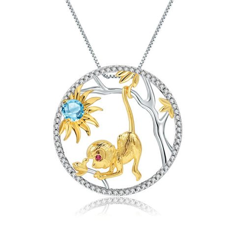 Sterling Silver Gold Plated Monkey Topaz Pendant for Women