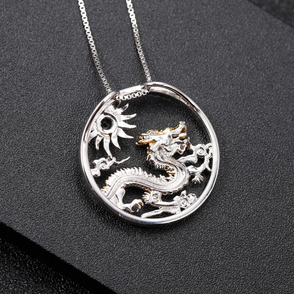 Sterling Silver Gold Plated Mythical Dragon Chrome Diopside Pendant for Women