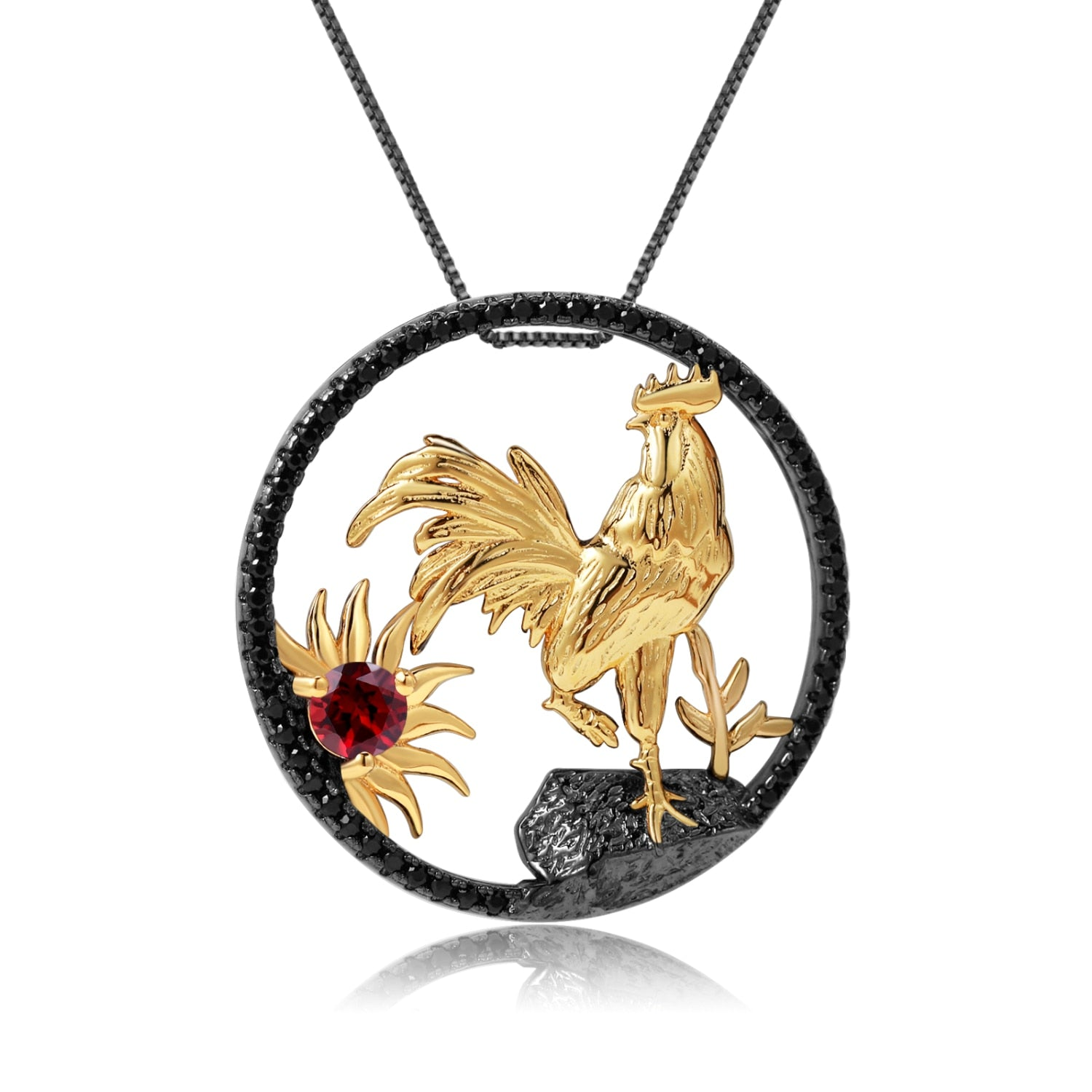 Sterling Silver Gold Plated Rooster Garnet Pendant for Women