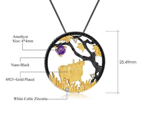 Sterling Silver Gold Plated Ox Amethyst Pendant for Women