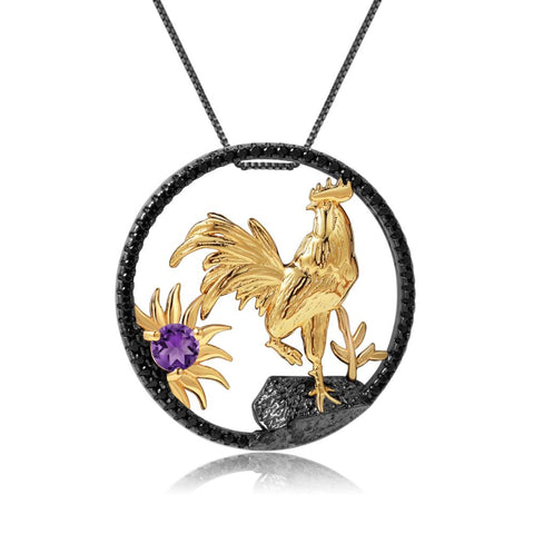 Sterling Silver Gold Plated Rooster Amethyst Pendant
