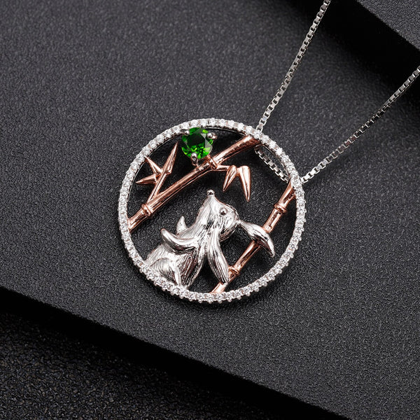 Sterling Silver Rabbit Chrome Diopside Pendant for Women