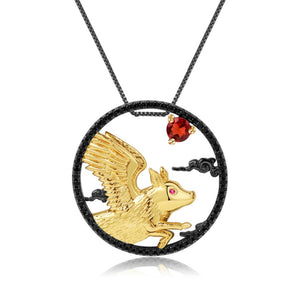 Sterling Silver Gold Plated Flying Pig Garnet Pendant for Women