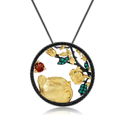 Sterling Silver Gold Plated Tiger Garnet Pendant for Women