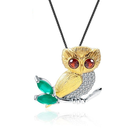 Sterling Silver Gold Plated Owl Shape Garnet Pendant for Women