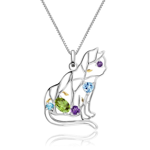 Sterling Silver Cat Shaped Peridot Pendant for Women