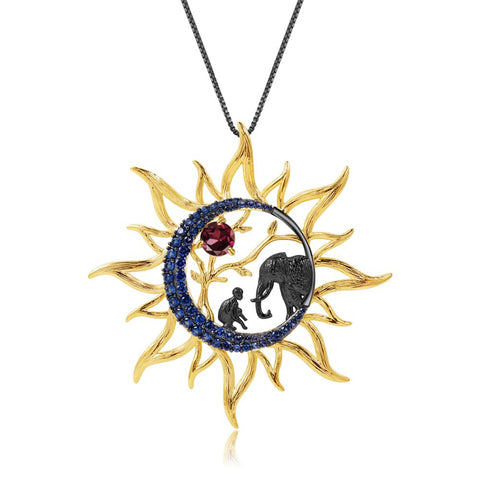 Sterling Silver Gold Plated Sun Shaped Elephant & Human Garnet Pendant for Women