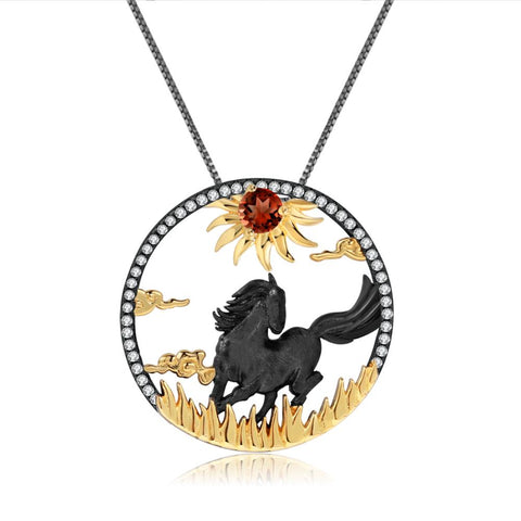 Sterling Silver Gold Plated Black Horse Garnet Pendant for Women