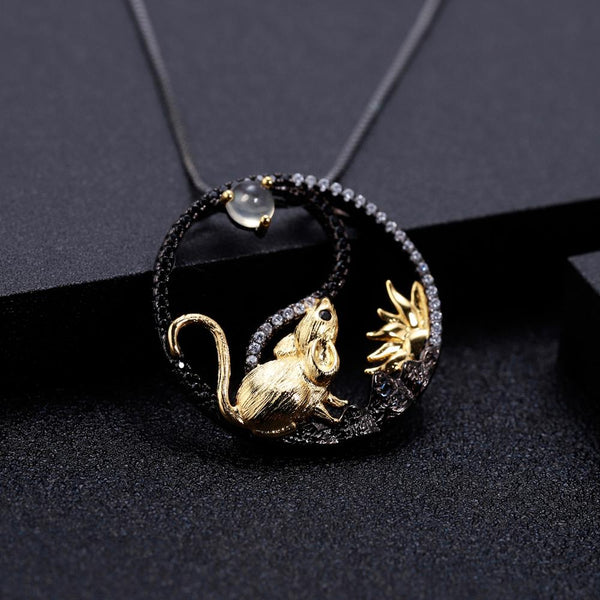 Sterling Silver Gold Plated Rat Opal Pendant for Women
