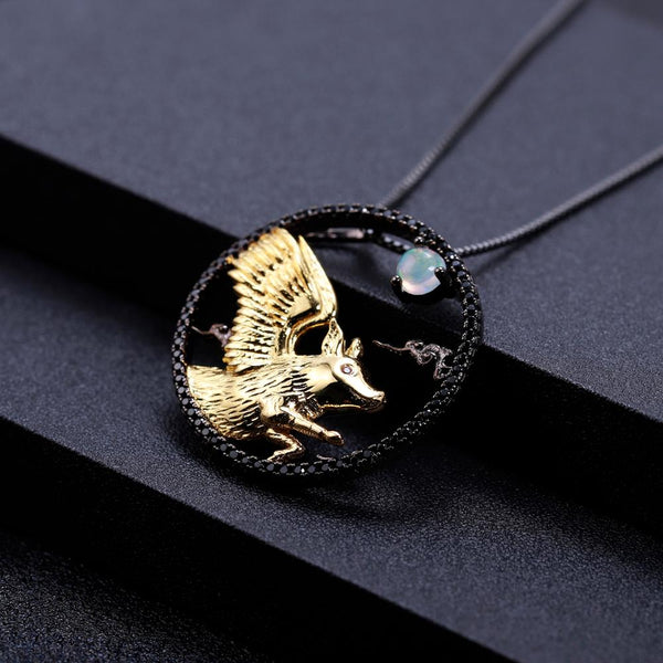 Sterling Silver Gold Plated Flying Pig Opal Pendant for Women