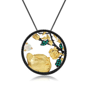 Sterling Silver Gold plated Tiger with Rose Opal Pendant for Women