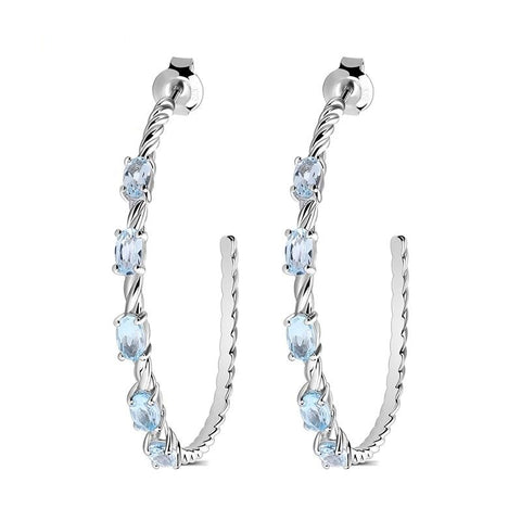 Sterling Silver 2.94 Ct 5 Pcs Topaz Earrings for Woman