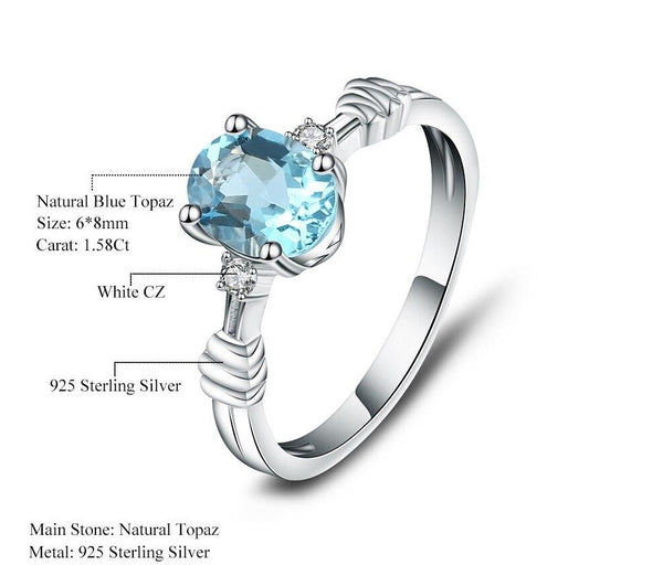 Sterling Silver 1.58 Ct Oval Ring for Woman