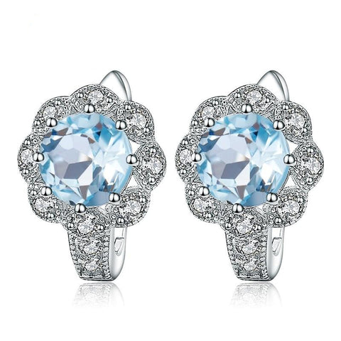 Sterling Silver Flower Topaz Earrings for Woman