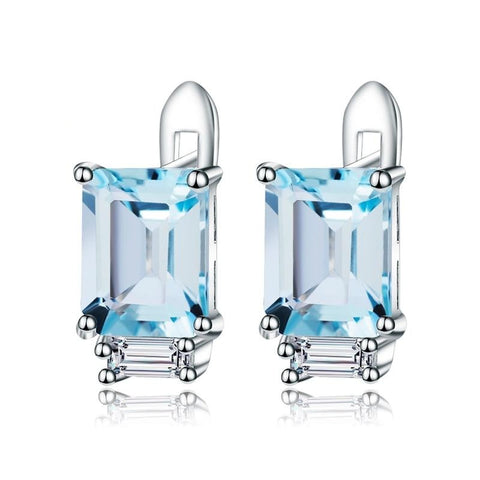 Sterling Silver Rectangle Topaz Earrings for Woman