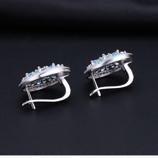 Sterling Silver Luxurious Topaz Earrings for Woman