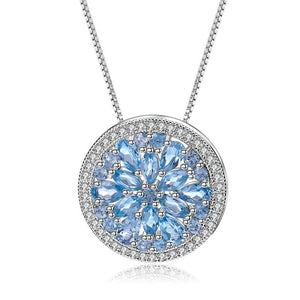 Sterling Silver 3.68 Ct Round Topaz Pendant for Woman