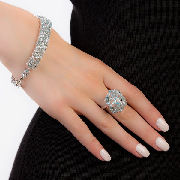 Sterling Silver Topaz Luxurious Ring for Women