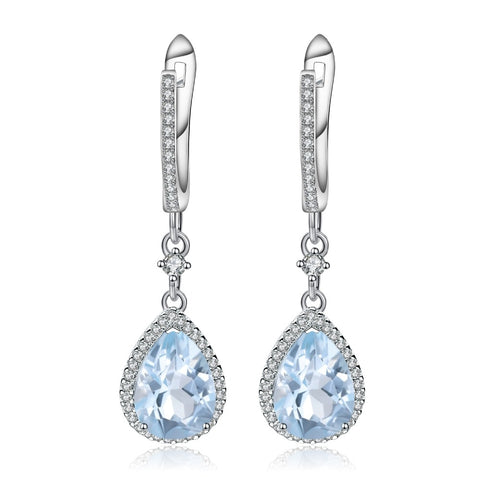 Sterling Silver 6.31 Ct Tear Drop Topaz Earrings for Woman