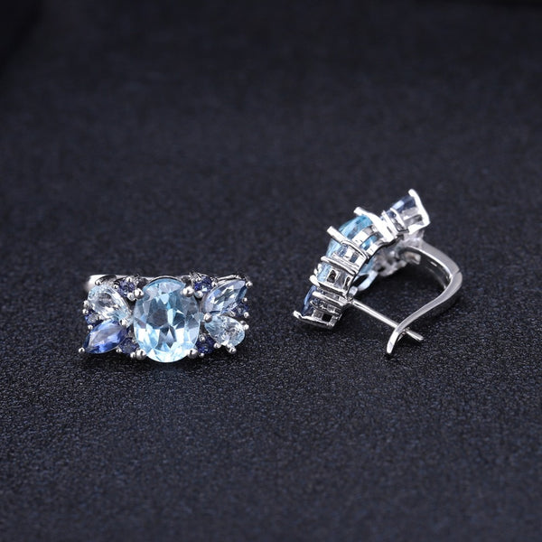 Sterling Silver Topaz and Quartz Earrings for Woman