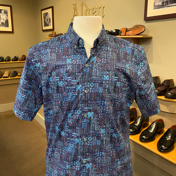 "TR x LS ""Coded Tapa"" Aloha Shirt in Navy"