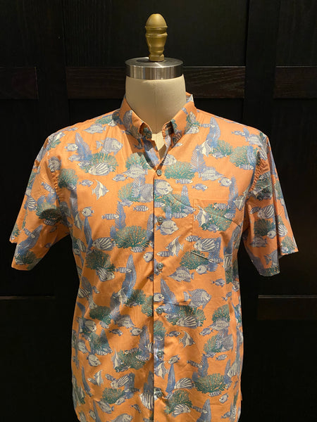 "TR x LS ""Aquarium"" Aloha Shirt in Coral"