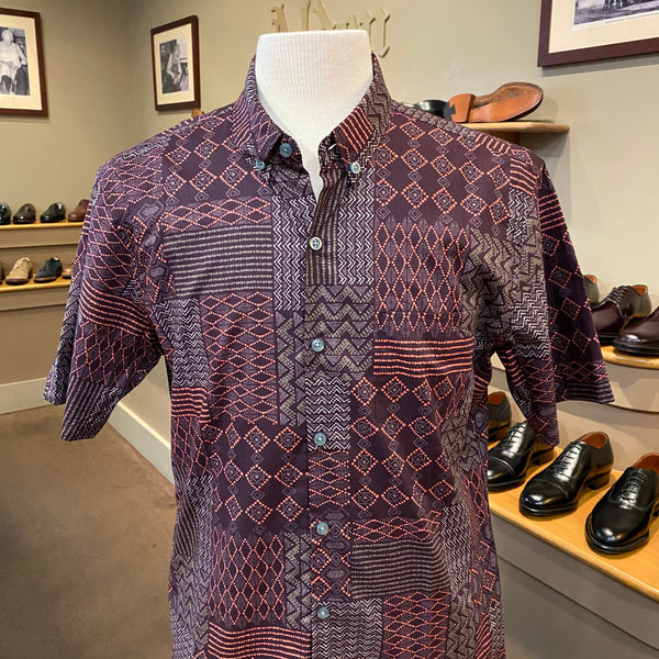 "TR x LS ""Dabu"" Aloha Shirt in Wine"