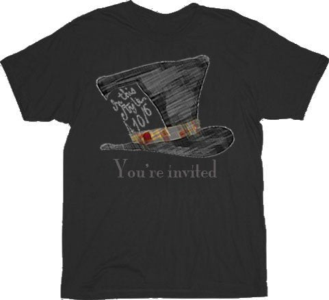 Alice in Wonderland Mad Hatter You're Invited T-shirt-tvso