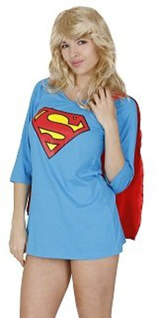 Superman Sleep Shirt Night Gown Pajama Dress with Attachable Red Cape-tvso