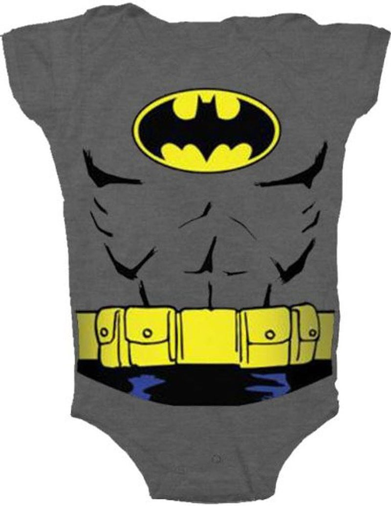 Batman Uniform Costume Charcoal Gray Snapsuit Infant Onesie Baby Romper-tvso
