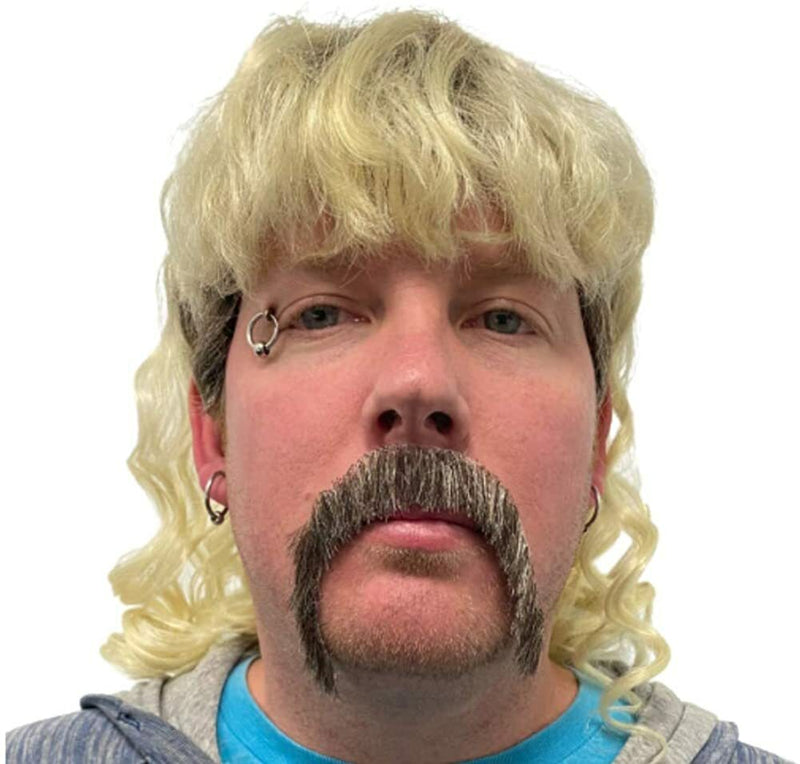 The King of Tiger Mullet & Mustache Halloween Costume Wig