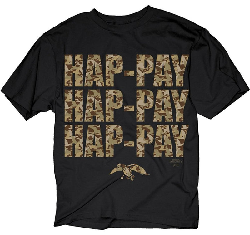 Hap-pay Hap-pay Hap-pay T-Shirt with Letters in Camo Print-tvso