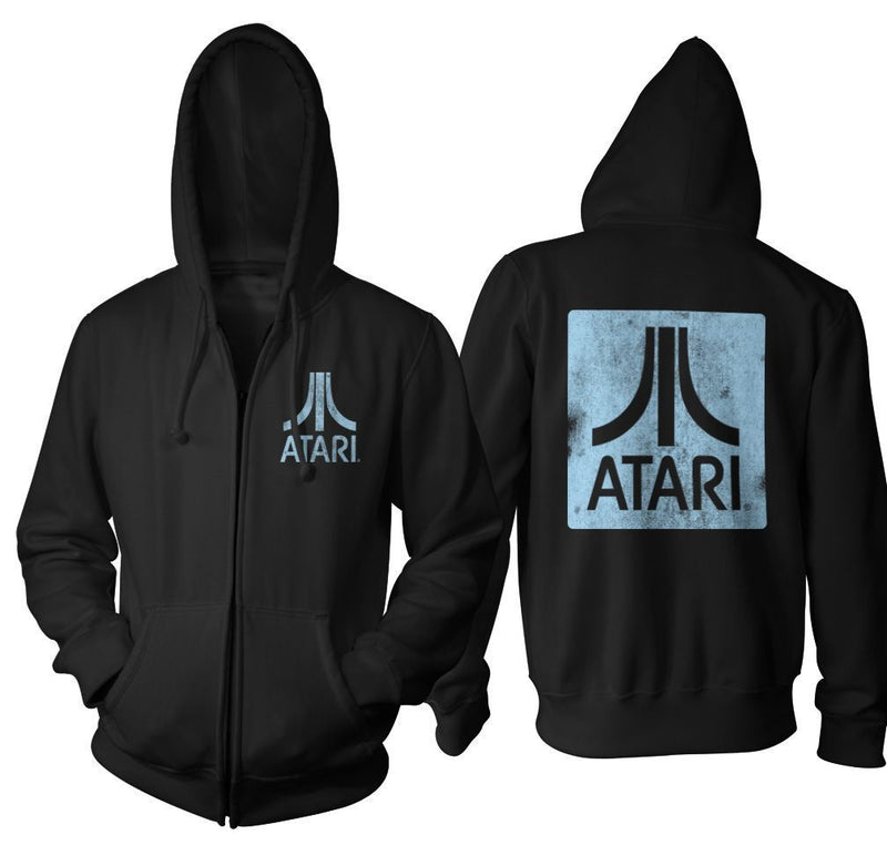 Atari Back & Chest Square Logo Zip Up Hoodie-tvso