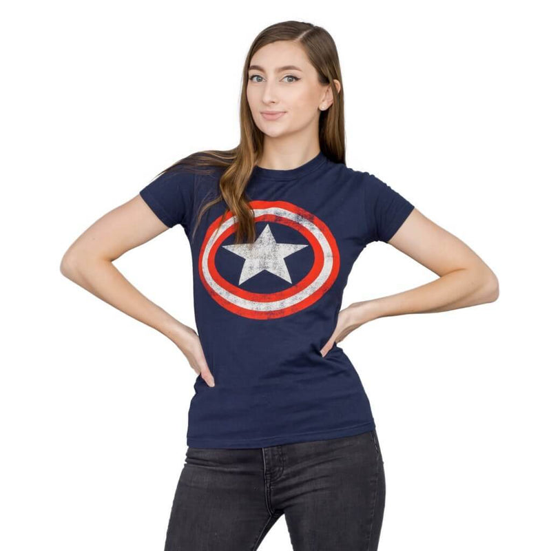 Captain America Star Distressed Logo Juniors T-shirt-tvso