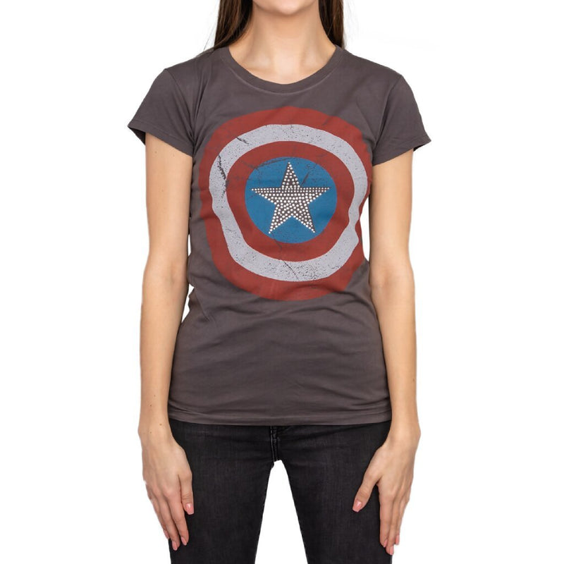 Captain America Studded Star Juniors T-shirt-tvso
