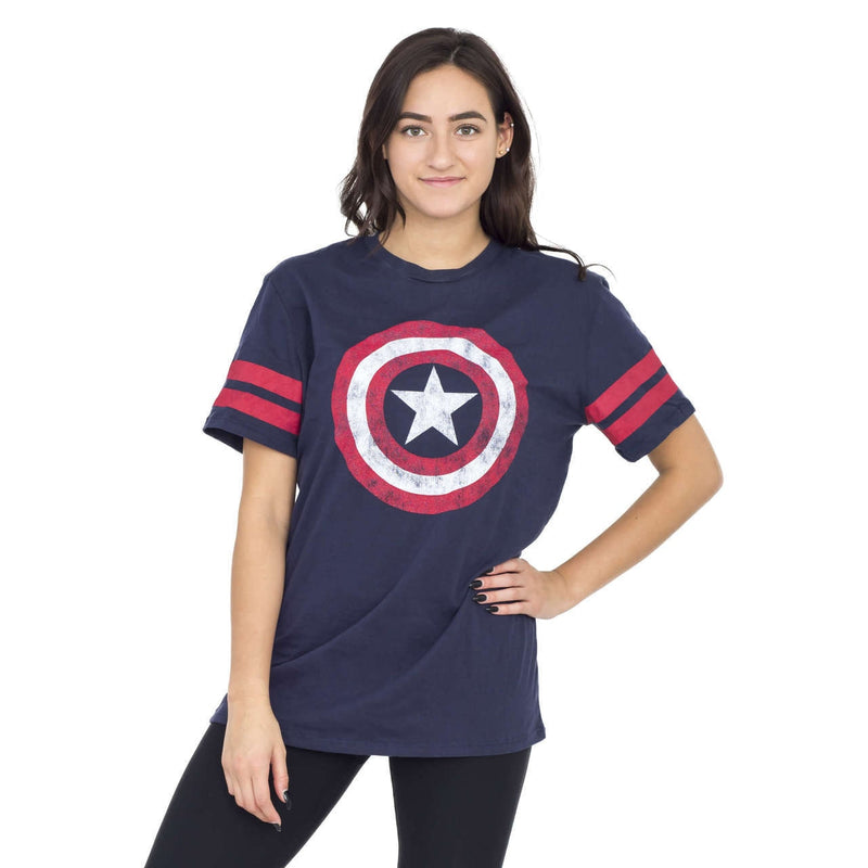 Captain America Distressed Shield Striped Sleeves T-shirt-tvso