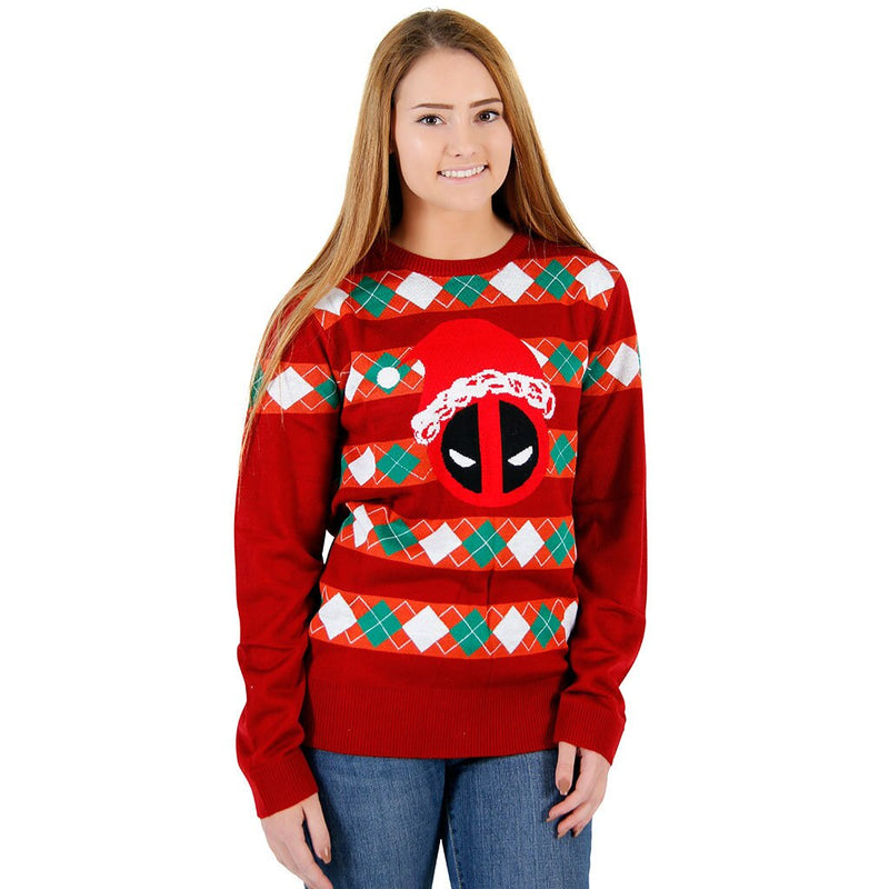 Deadpool Santa Hat Stripes Ugly Christmas Sweater-tvso
