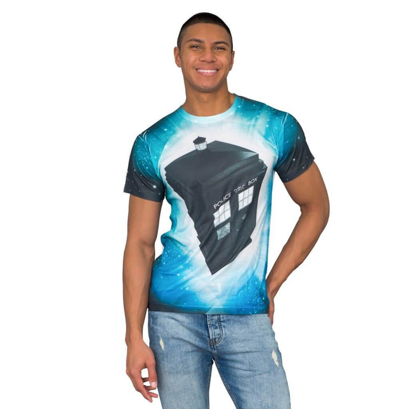 Doctor Who TARDIS Glowing Stars Sublimation T-Shirt-tvso