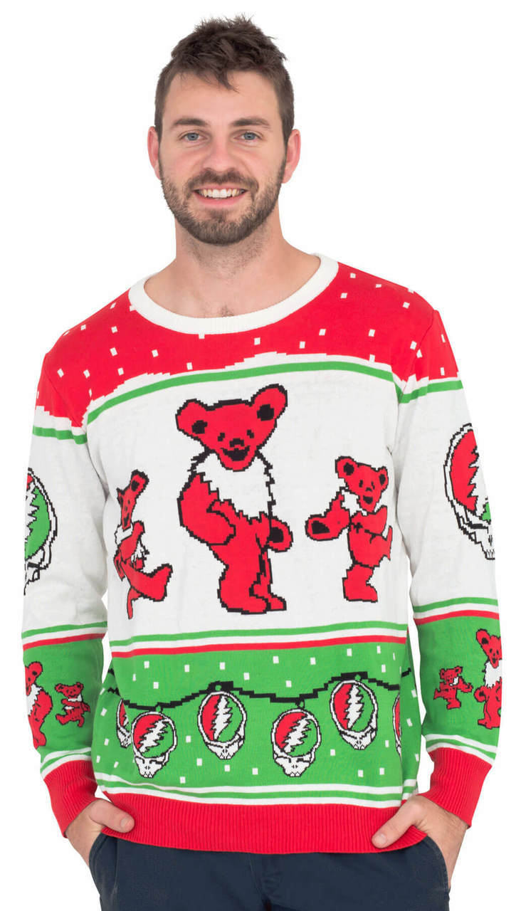 Grateful Dead Bears with Steal your Face Ornaments Christmas Sweater