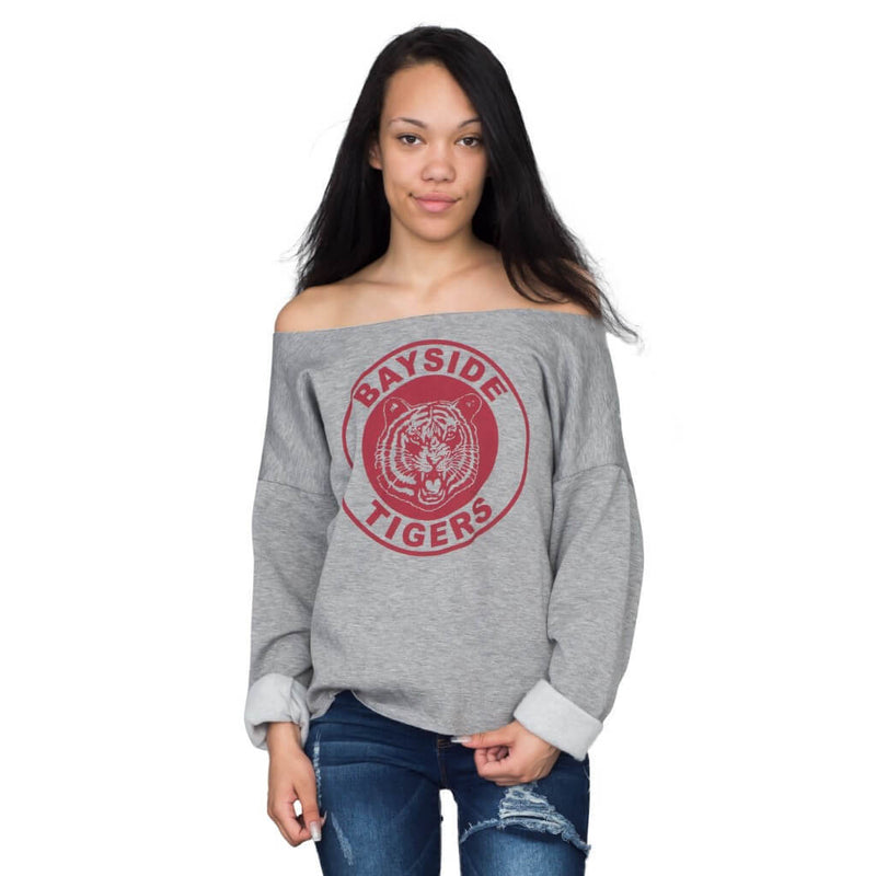Kelly Kapowski Bayside Tigers Off the Shoulder Sweatshirt-tvso