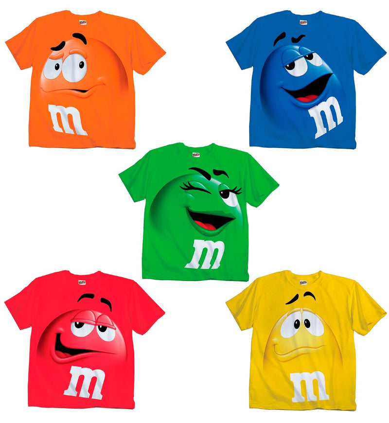 M&M's Candy Silly Character Face Adult T-Shirt-tvso