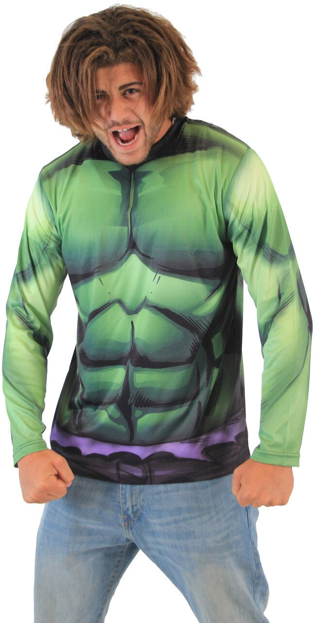 Incredible Hulk Sublimated Adult LONG SLEEVE Costume T-Shirt-tvso