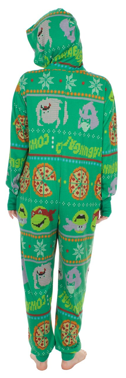 TMNT Pizza All Over Hooded One Piece Pajama-tvso