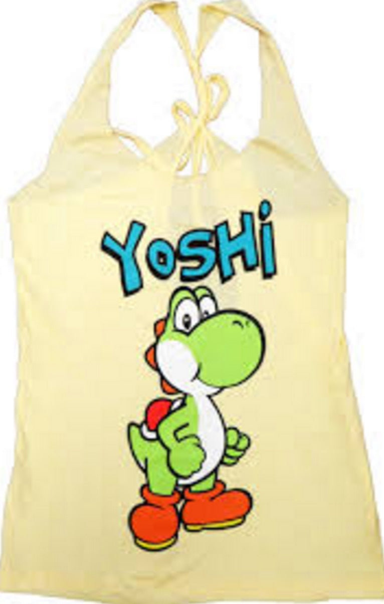 Yoshi Yellow Thin-Cut Tank Top With Open Braided Racerback Back-tvso