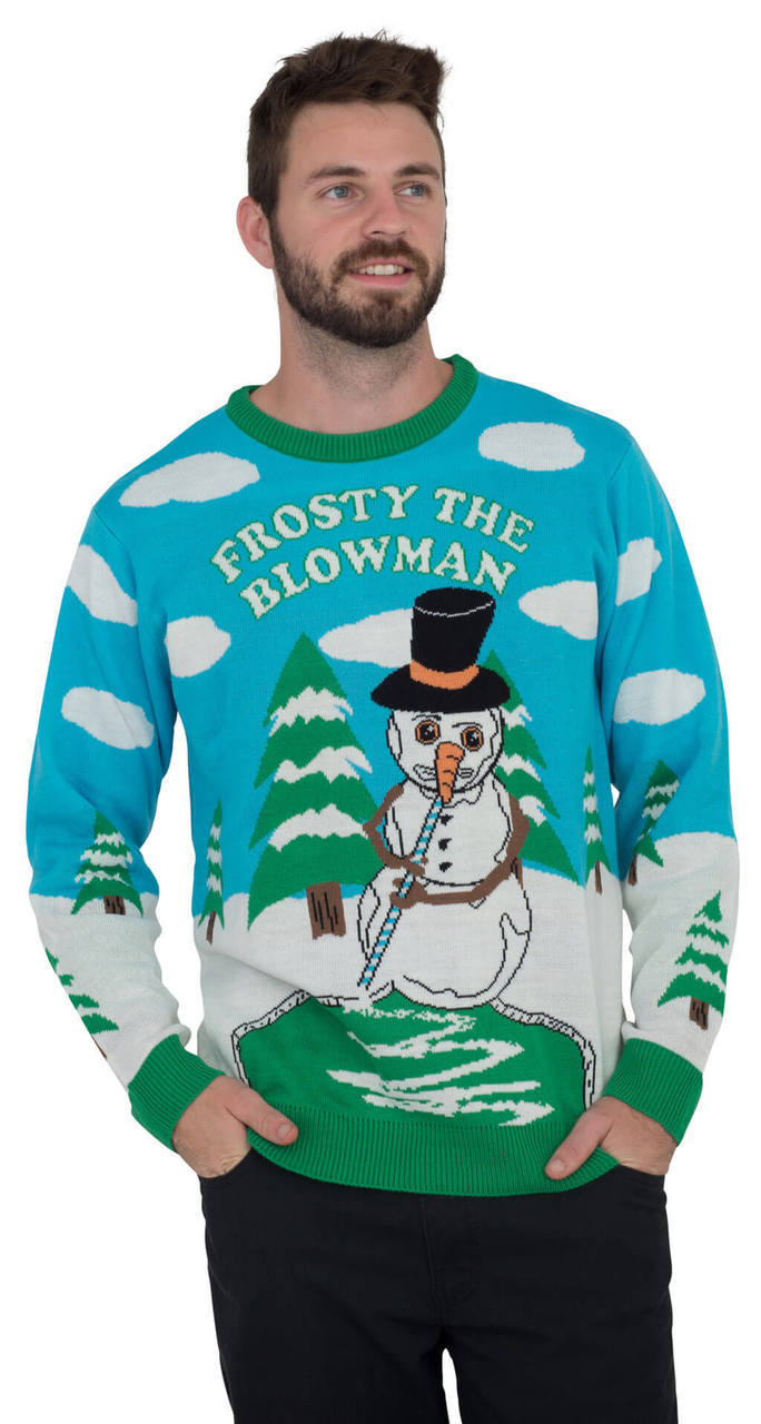 Frosty the Blowman Snowman Ugly Christmas Sweater-tvso